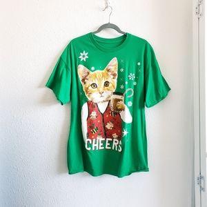 Christmas  Print Cat Cheers Tshirt